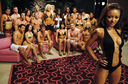 Shot at Love with Tila Tequila airing on MTV pictured: Tila Tequila with contestants cr: courtesy MTV
