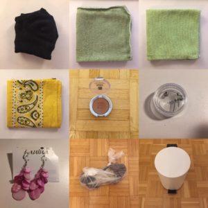 Das Bild zeigt Tücher, einen Lidschatten, Ohrringe, ein Paar ältere Schuhe und einen Mülleimer, was alles aus dem Besitz entfernt wird | Kristina Kral, Minimalismus