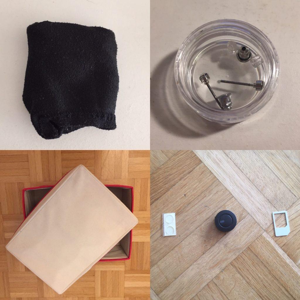 Das Bild zeigt ein Paar Socken, eine Aufbewahrungsbox, Modeschmuck und Kleinkram aus einer Schublade | Kristina Kral, Minimalismus