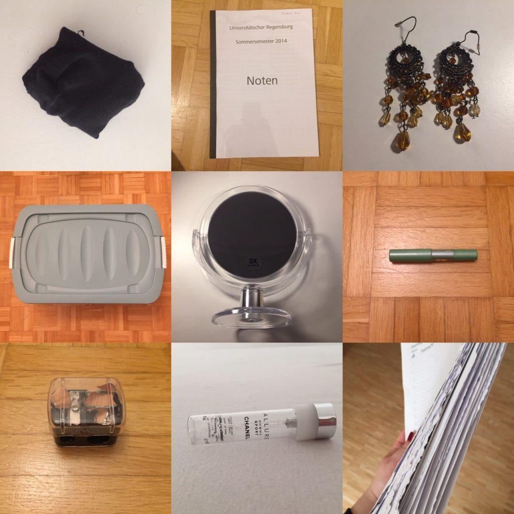 Das Bild zeigt verschiedene Gegenstände (Socken, Noten, Ohrringe, etc.), die minimalisiert wurden. | Kristina Kral, Minimalismus
