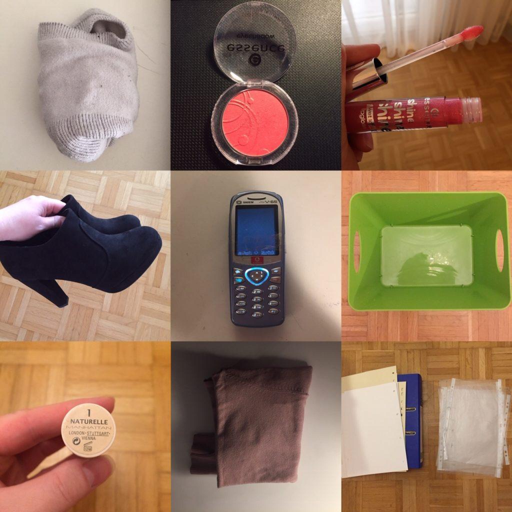 Das Bild zeigt verschiedene Gegenstände wie Socken, Make Up, ein Handy und eine Box, die minimalisiert wurden   Kristina Kral, Minimalismus