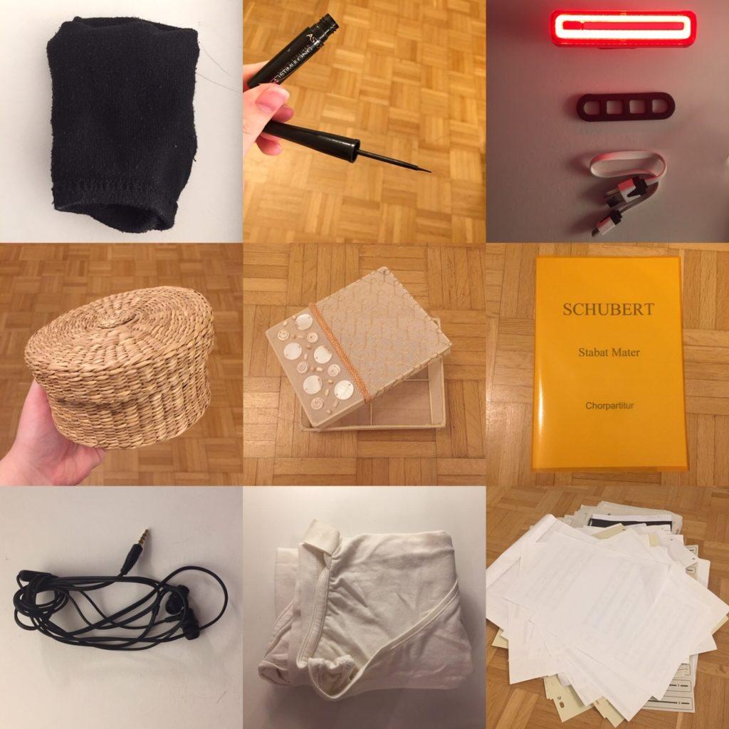 Das Bild zeigt neun verschiedene Gegenstände: Ein Paar Socken, flüssiger Eyeliner, eine Lampe, etc. , die ich minimalisiert, sprich: aus meinem Besitz entfernt habe | Kristina Kral, Minimalismus