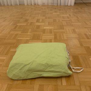 DAs Bild zeigt eine Stofftasche mit Unterlagen drin.
