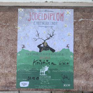 Das Bild zeigt ein Jodeldiplom der Jodelschule Anita Biebl