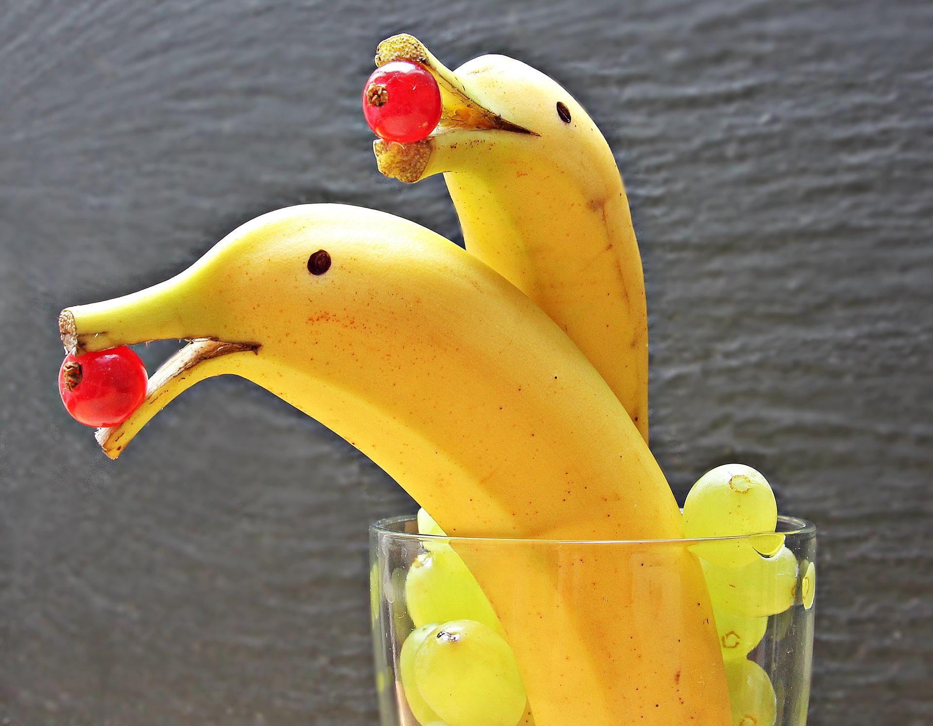 Das Bild zeigt zu Delfinen dekorierte Bananen in einem Glas voll Trauben