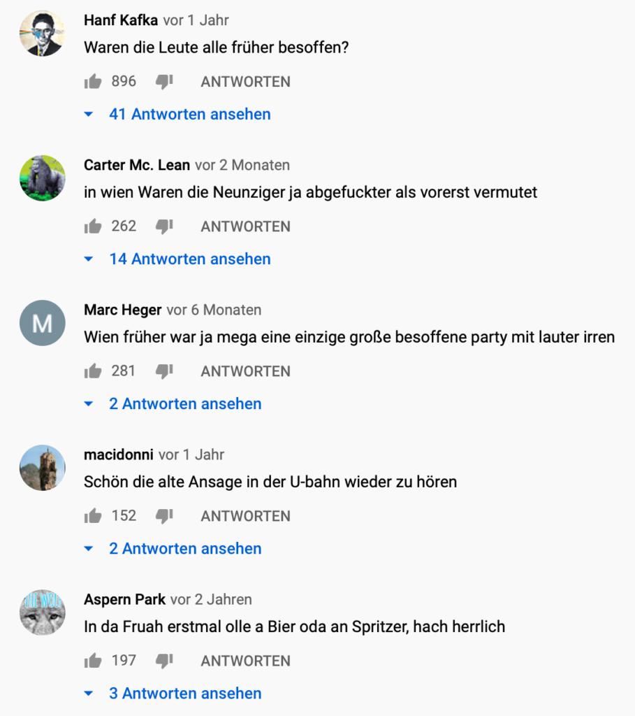 Das Bild zeigt eine Auswahl von Kommentaren auf Youtube zu dem Film