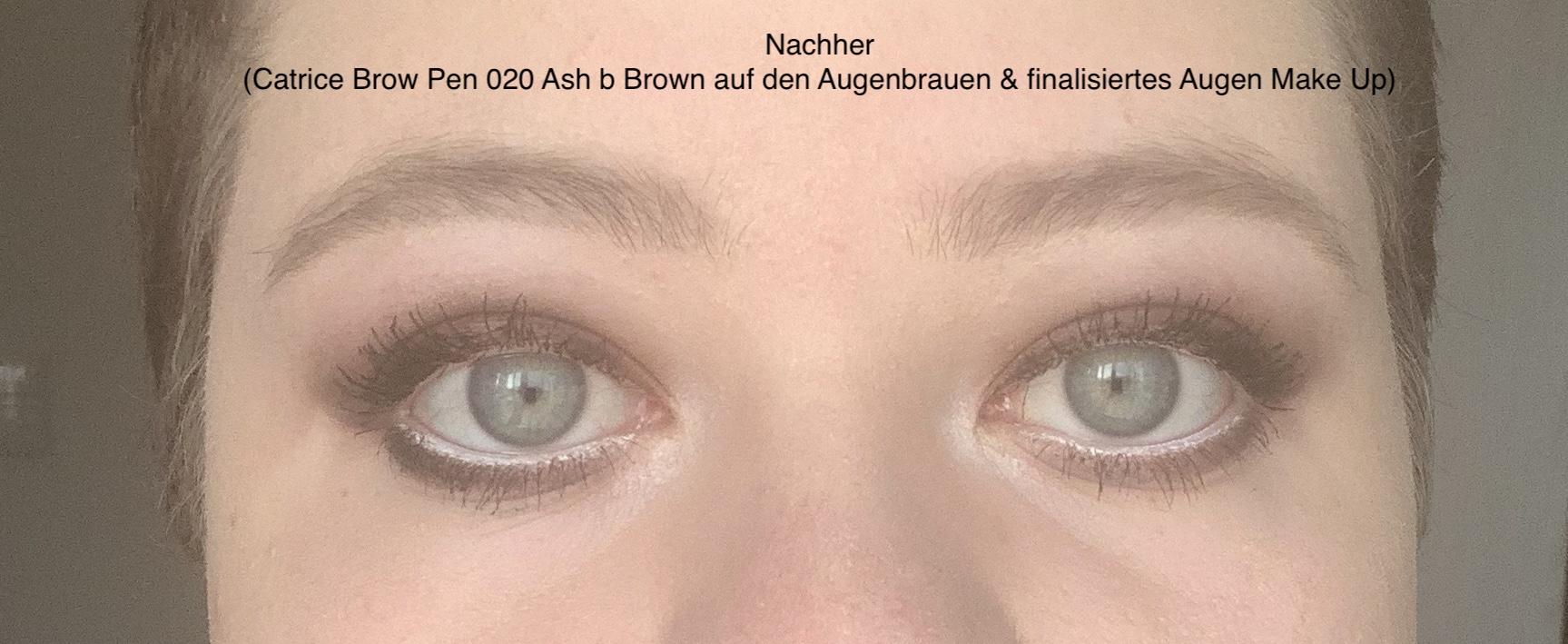 Das Bild zeigt ein Augenbrauenpaar, das mit einem Stift nachgezeichnet wurde und nun voller aussieht.