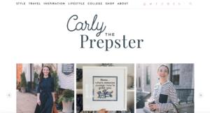 Das Bild zeigt ein Bildschirmfoto vom Layout des Blogs von Carly The Prepster (CarlyThePrepster.com)