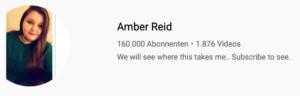 Bildschirmfoto: Infos zu Amberlynn Reids Youtubekanal: 160.000 Abonnenten 😱