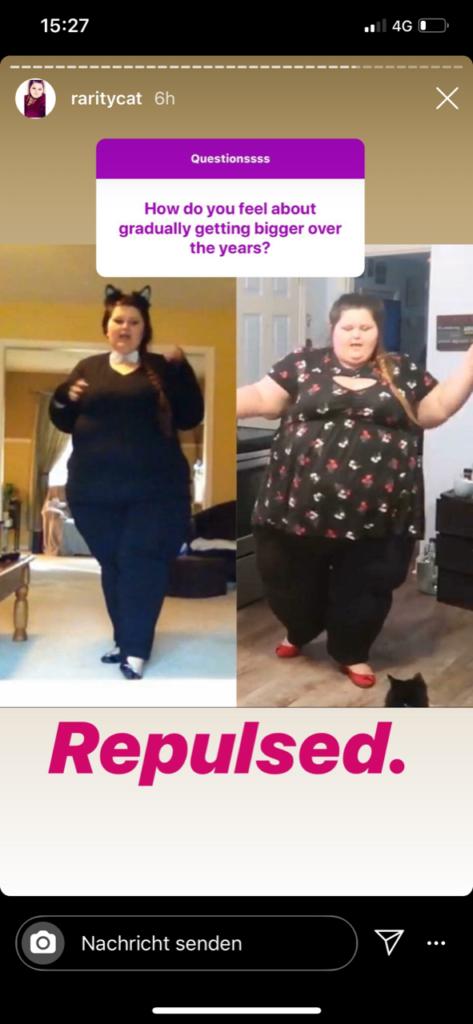 """(c) Amberlynn Reid fühlt sich """"repulsed"""" = """"angewidert"""", wenn sie ihre Gewichtszunahme betrachtet"""