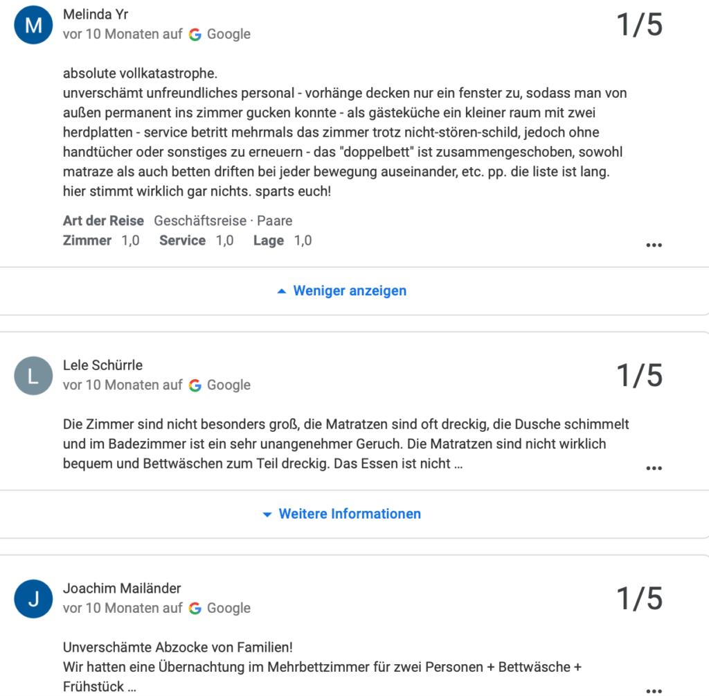 Viele Google-Bewertungen zu Abzocke, Schimmel und unfreundlichem Personal