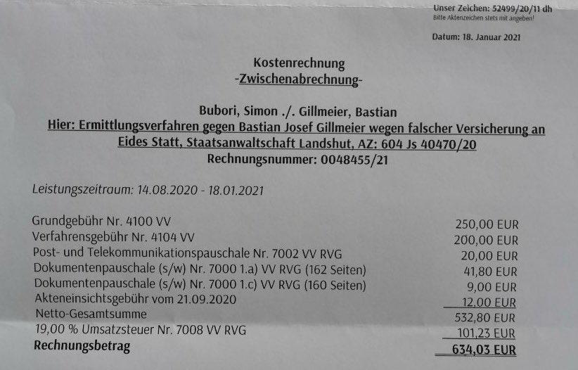 Anwaltsrechnung Simon Bubori wegen Bastian Yotta aka Gillmeier