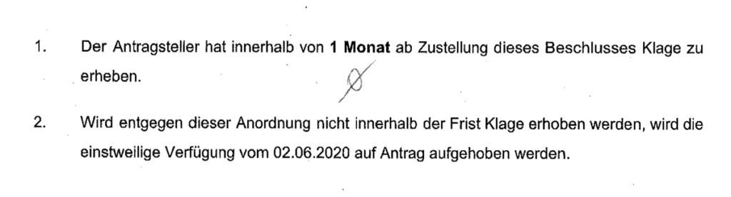 Auszug aus Schreiben des LG Berlin