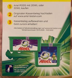 Flyer aus der Drogerie: Ariel kostenlos testen