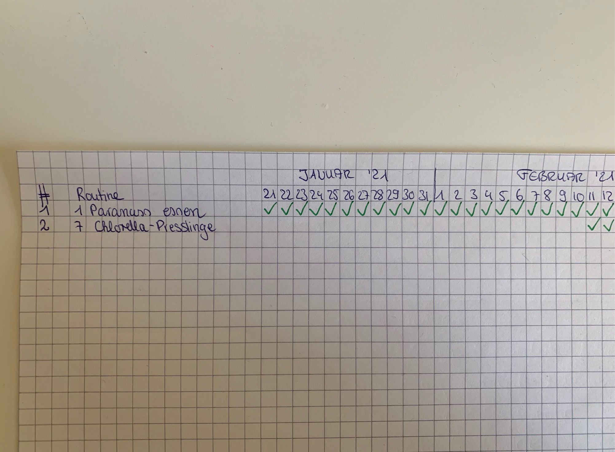 2. Routine: 7 Chlorella-Presslinge täglich