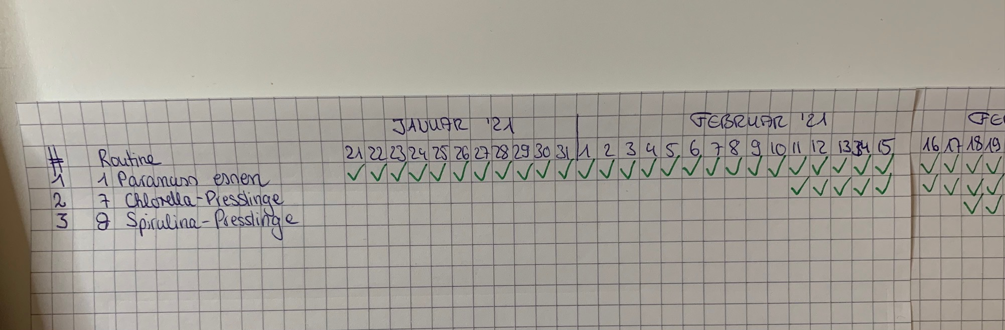 3. Routine: 8 Spirulina-Presslinge täglich