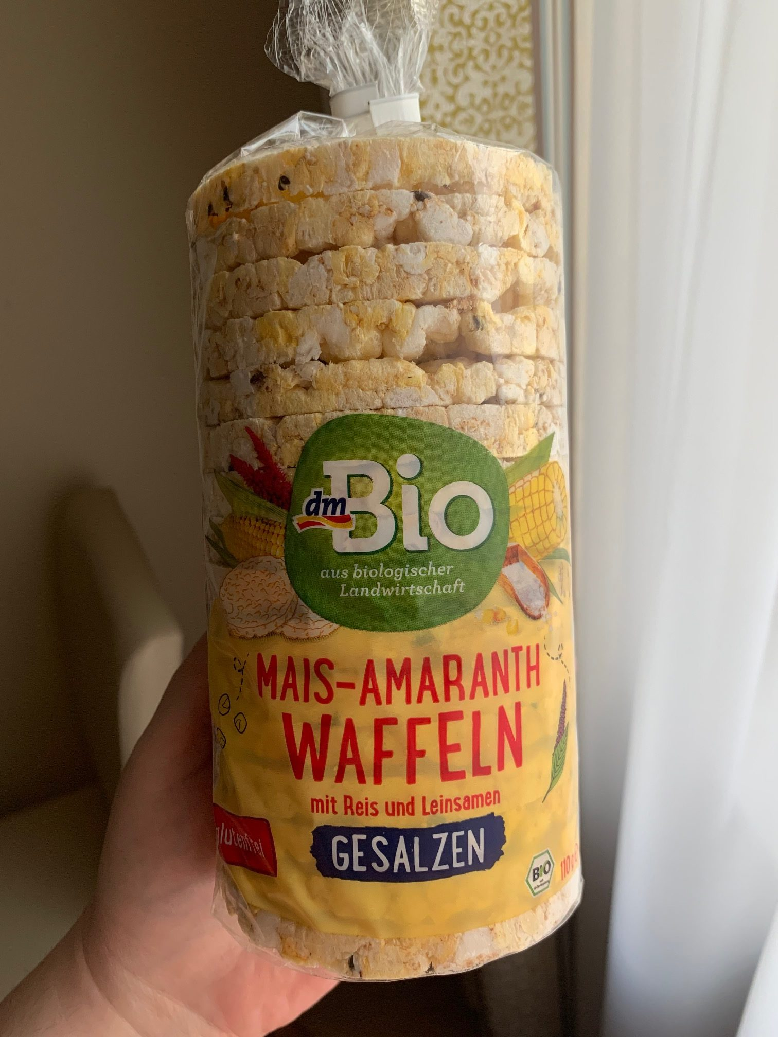dm Bio Mais-Amaranth-Waffeln mit Reis und Leinsamen
