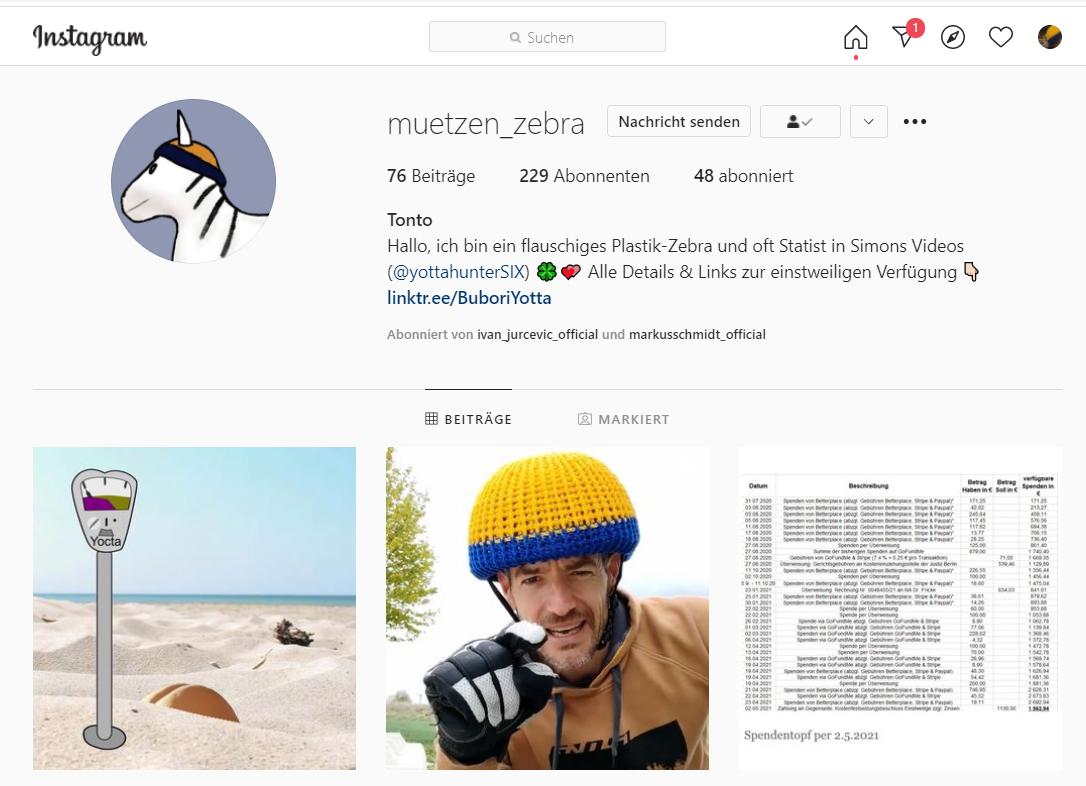 Bildschirmfoto: Tontos Instagramkonto